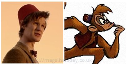 seperated at birth? Abu the monkey from Disney's Aladdin and the Doctor