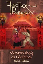 Cover of Faction Paradox: Warring States. It shows two women fighting in front of a Chinese imperial palace.