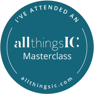 "circular logo reading ""I've attended an all things IC masterclass"""