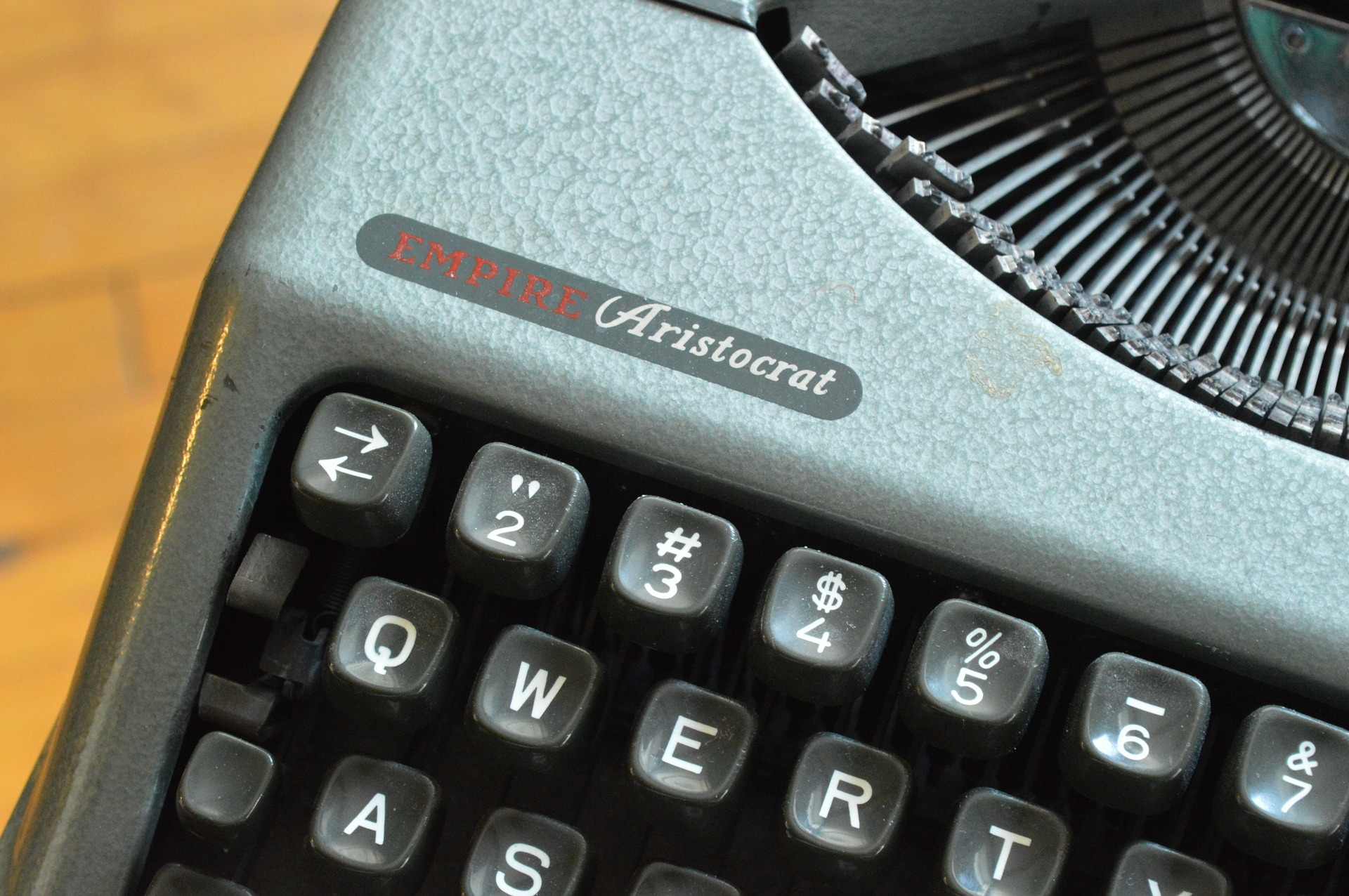 top corner of an old portable typewriter