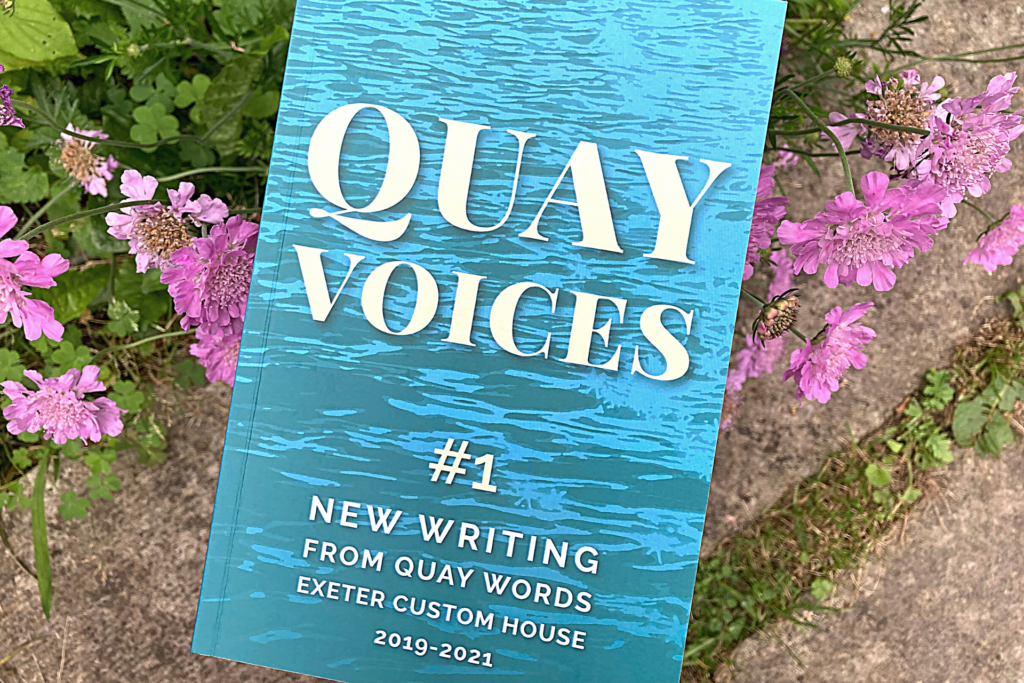 Quay Voices book in front of some purple scabiosa flowers